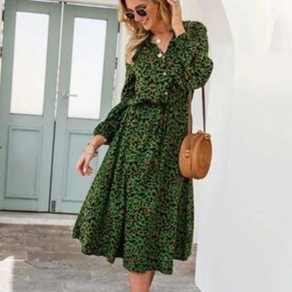 Ficcia Chic Print Long Sleeve Pleated Midi Dress