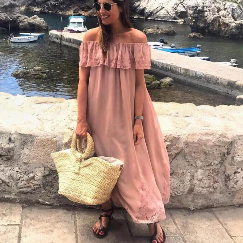 Ficcia Pink Off The Shoulder Short Sleeve Maxi Dress