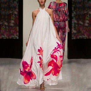Ficcia Latest Halter Floral Print Flowing Maxi Dress