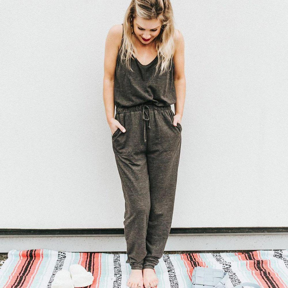 Ficcia Grey Sleeveless Tank Top With Lounge Pant