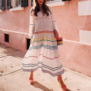 Ficcia White Loose Rainbow Zigzag Maxi Dress