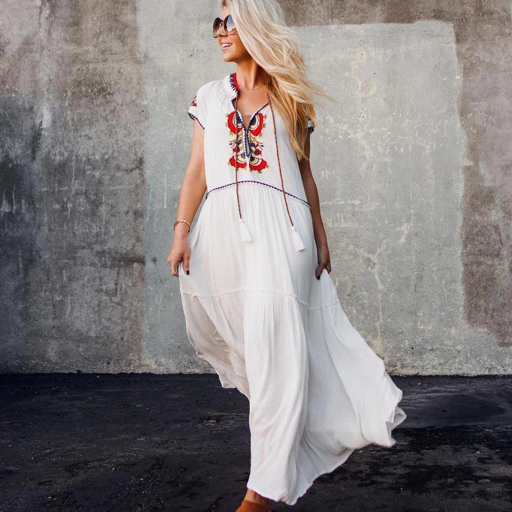 Ficcia White Capped Sleeve Print Loose Maxi Dress