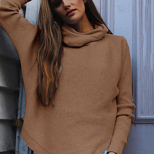 Casual High Neck Long Sleeve Plain Sweater