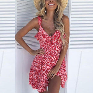 Ficcia Spaghetti Strap  Backless  Floral Printed  Sleeveless Casual Dress