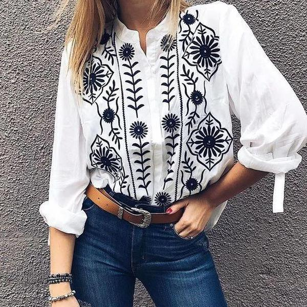 Ficcia Casual Round Neck Long Sleeve Printed Blouse