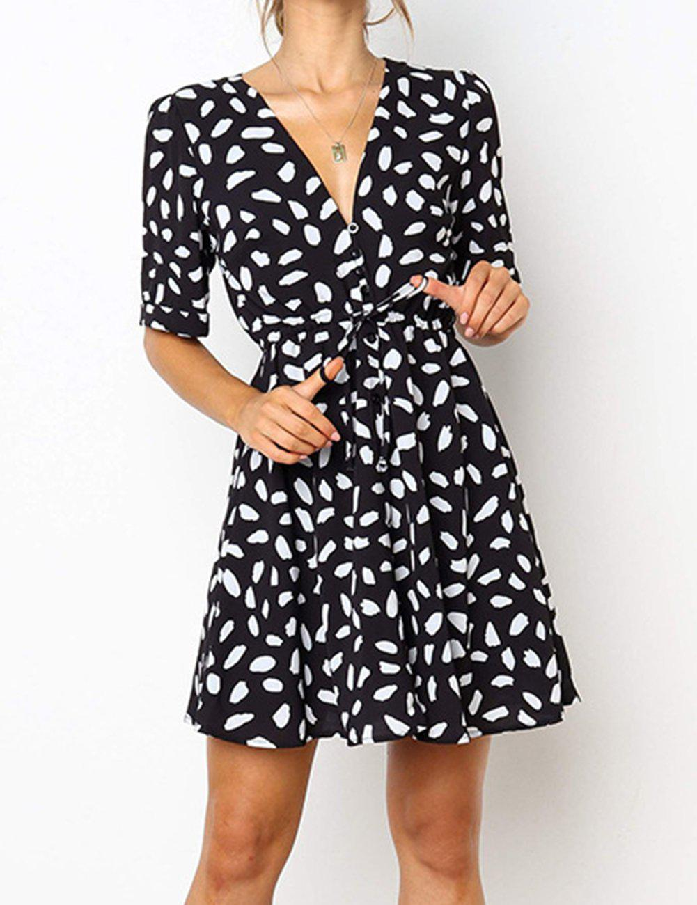 Ficcia Deep V-Neck Printed Buttons Adjustable Waist Dress