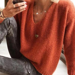Ficcia Casual V-Neck Long Sleeve Sweater