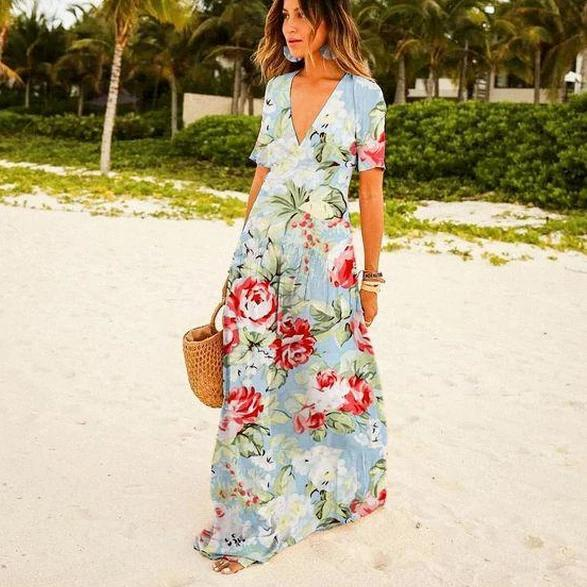 Ficcia Floral V-Neck Short Sleeve Maxi Dress