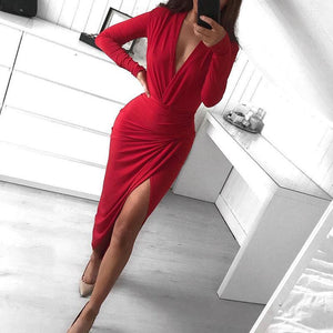 Ficcia Red V-Neck Waist Sexy Dress
