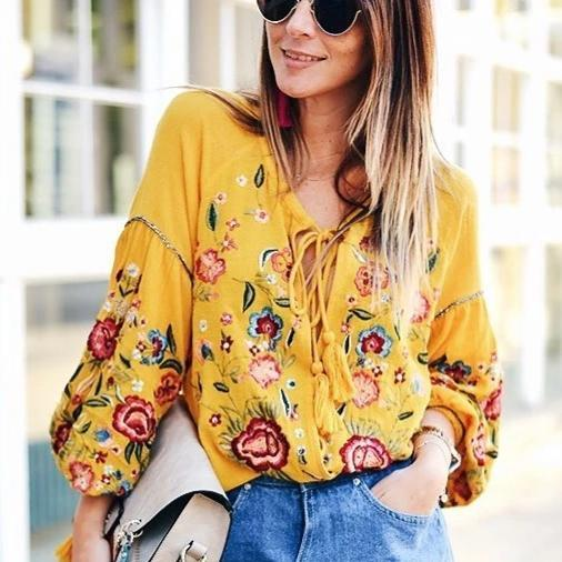 Ficcia Fashion Yellow V-Neck Splice Sleeve Loose Printed Blouse
