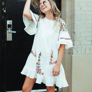 Ficcia Trendy Flare Sleeve Half Sleeve Mini Dress