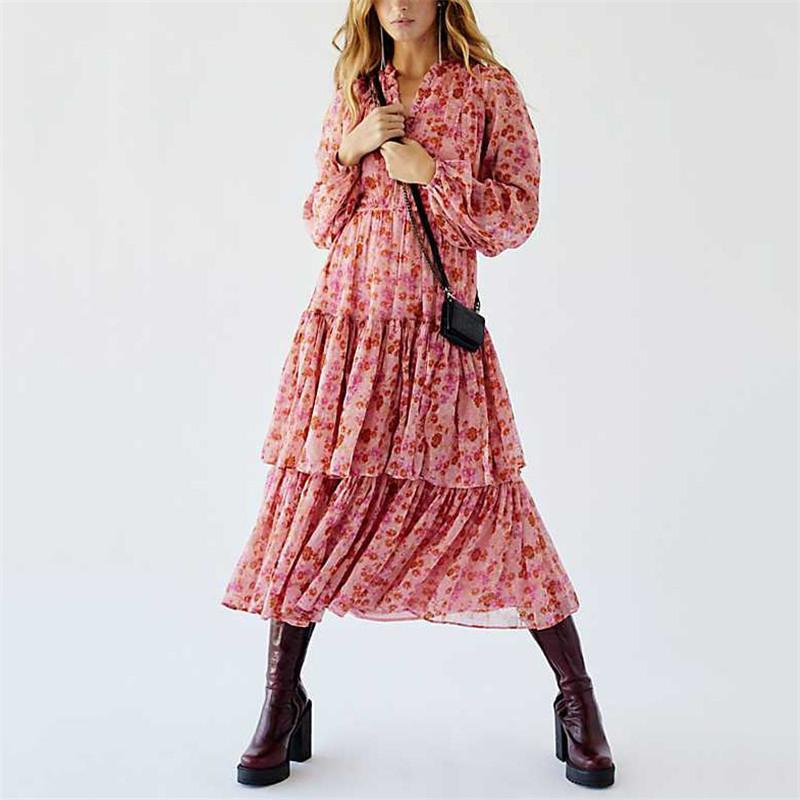 Ficcia Fashion Floral Printed Long Sleeve Dress