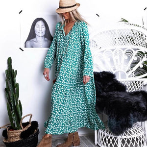 Ficcia Chic V-Neck Long Sleeve Loose Printed Dress