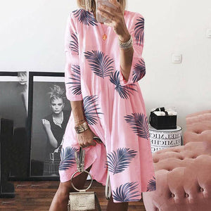 Ficcia Loose Casual Leaf Print Crew Neck Dress