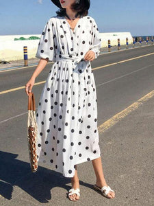 Ficcia Casual Polka Dot Printed Vacation Dress