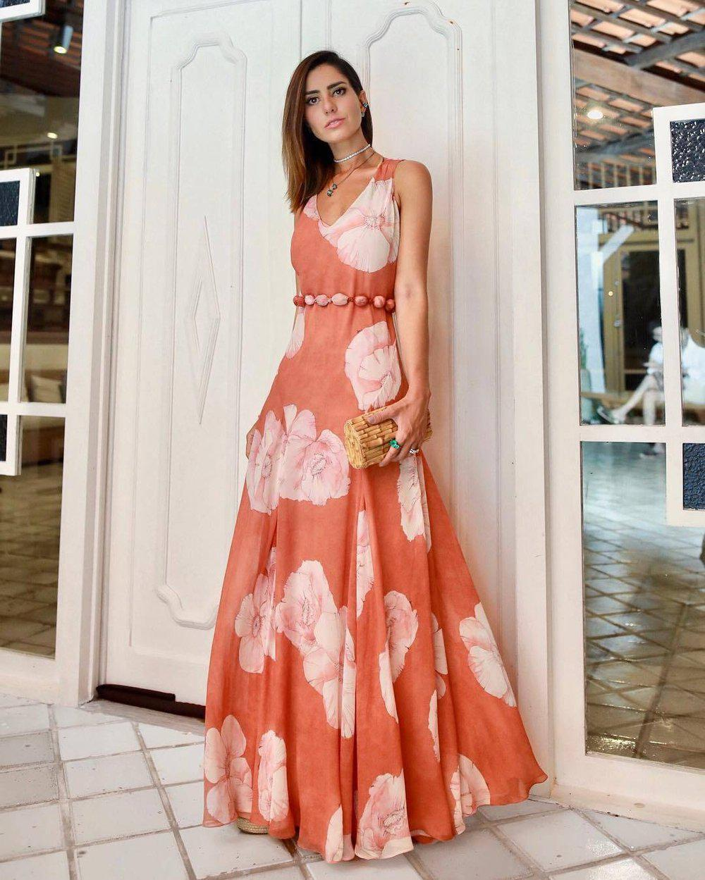 Ficcia Romantic Orange Flower Printed Round Neck Sleeveless Fairy Dress