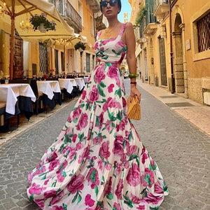 Ficcia Stunning Floral Flowing Sleeveless Maxi Dress