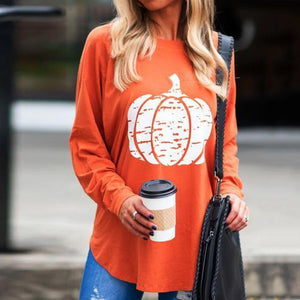 Casual Color Print Long Sleeve Tee