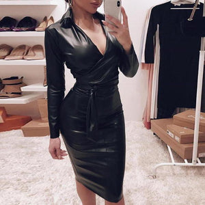 Ficcia Sexy Deep V-Neck Plain Bodycon Long Sleeve Midi Party Dress