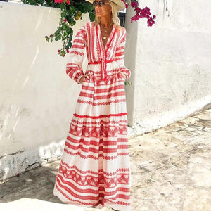 Ficcia A-Line Long Sleeve Bell Sleeve Print V-Neck Maxi Dress