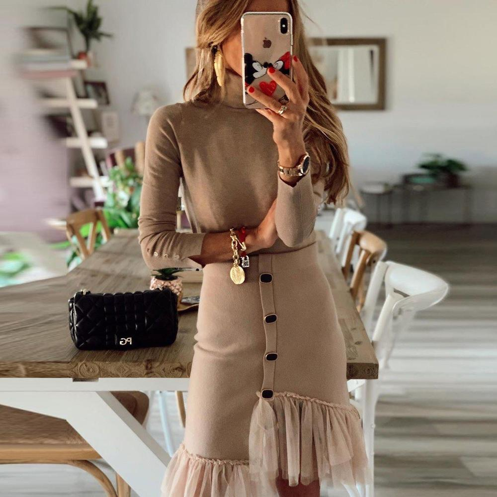 Ficcia Taupe Long Sleeve High Neck Buttons Two-Piece Dress