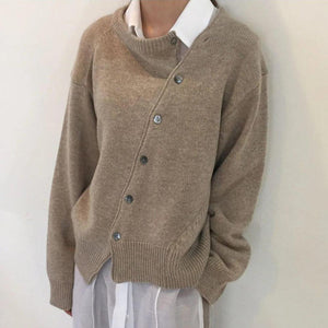 Ficcia Irregular Diagonal Knit Sweater Cardigan Coat