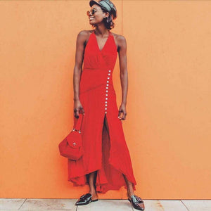 Ficcia Glamorous Red V-Neck Halter Split Maxi Dress