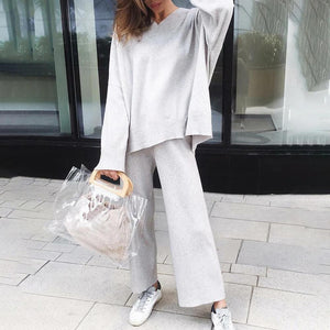 Ficcia Casual Long Sleeve Knitted Two Piece Set