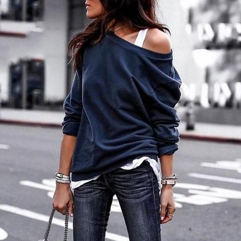 Ficcia Casual Plain One Shoulder Long Sleeve Sweatshirt