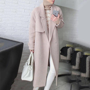 Notched Lapel Belt Plain Long Sleeve Coat
