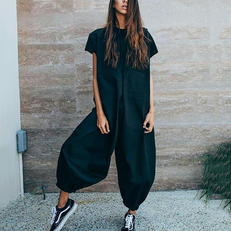 Women Fashion Casual Loose Solid Color Jumpsuit