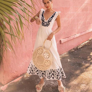Ficcia Simple Fashion Boho Printed V-Neck Sleeveless Beach Dress