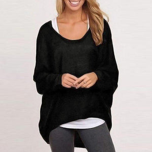 Ficcia Round Neck Plain Pullover Sweater