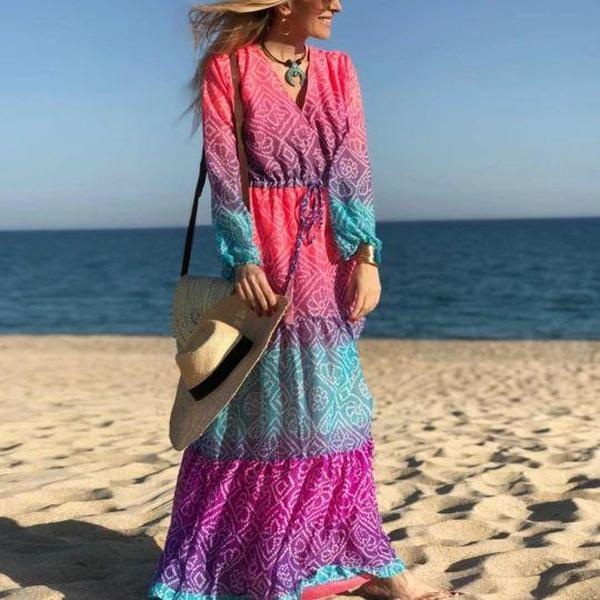 Ficcia Showy V-Neck Long Sleeve Printed Beach Dress