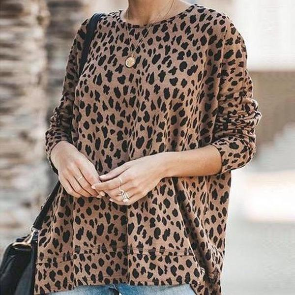 Ficcia Crew Neck Leopard Print Cotton-Blend Shirt & Top