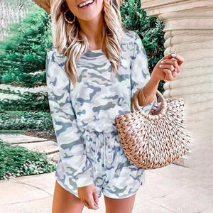 Ficcia Fashion Camouflage Printed Round Neck Long Sleeve Tee Two-Piece Set