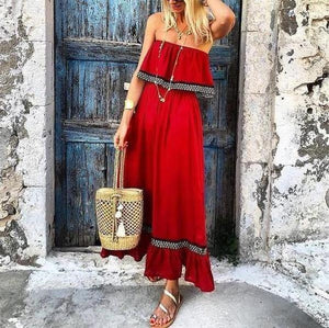 Ficcia Bohemian False Two-Piece Splicing Boat Pleated Neck Maxi Dress