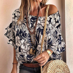 Ficcia Elegant Round Neck Short Sleeve Printed Blouse