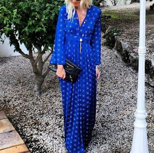 Ficcia Elegant V-Neck Printed Color Long Sleeve Maxi Dress