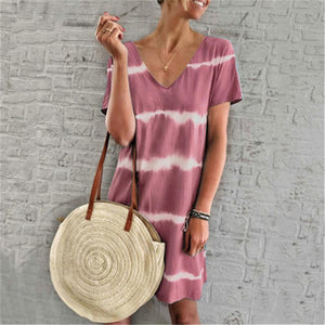 Ficcia Fashion V-Neck Stripe Splicing Casual Dress