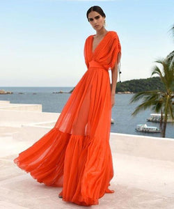 Ficcia Temperament Orange Deep V-Neck Slim Fit Pleated Big Swing Dress