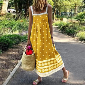 Ficcia Cute Sling Polka Dot Sleeveless Lace Maxi Dress
