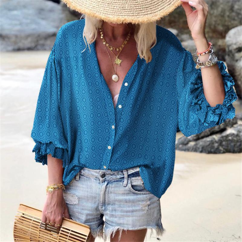 Ficcia Vacation Casual Puff Sleeve Printed Shirt