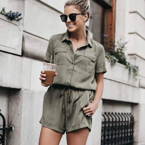 Ficcia Casual Simple V-Neck Short Sleeve Slim Fit Jumpsuit