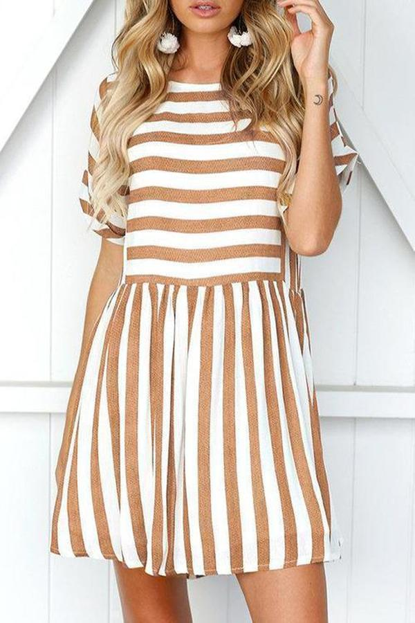 Ficcia Casual Striped Mini Dress