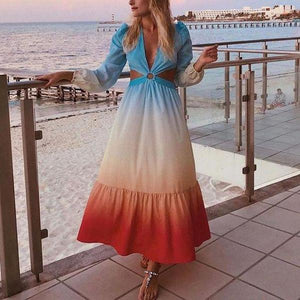 Ficcia Sexy Glamorous Deep V-Neck Long Sleeve Hollow Out Color Block Maxi Dress