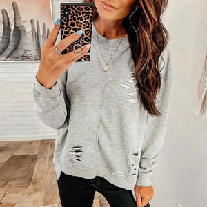 Ficcia Fashion Plain Round Neck Long Sleeve Sweatshirt