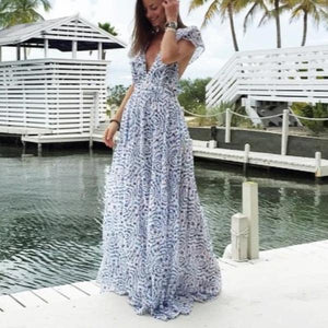 Ficcia Elegant Flutter Sleeve Floral Flowing Pleated Maxi Dress