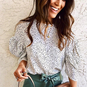 Ficcia Stylish Polka Dot Puff Sleeve Top