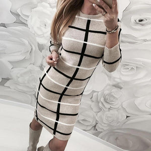 Ficcia Color Stripe Long Sleeve Sweater Bodycon Midi Dress
